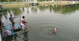 শকুনি লেকে শুরু হয়েছে বরশি মাছ ধরার প্রতিযোগিতা